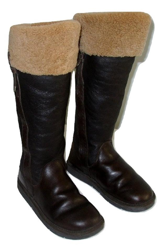 828fc5da183 UGG Australia Dark Chocolate Brown Reconditioned Locarno Sheepskin Leather  Knee High Boots/Booties Size US 7 Regular (M, B)