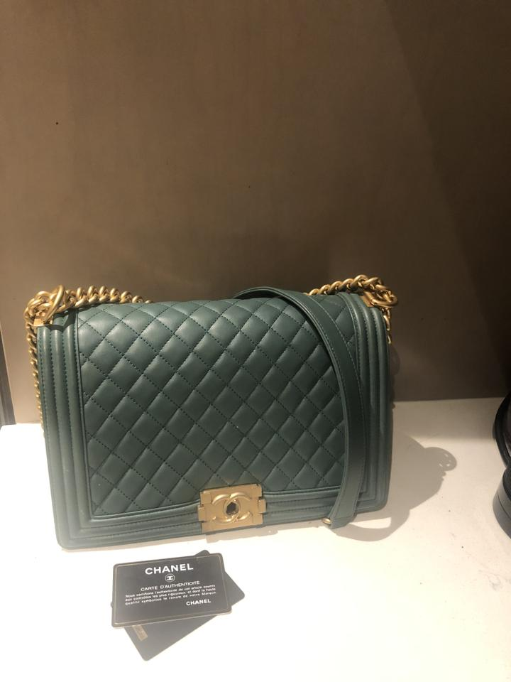2cc84af59505 Chanel Boy Quilted Old Medium Cc Cross Body Lambsk Green Gold ...