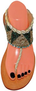 Cocobelle Beaded Resort Blogger Multicolor Bead Puka Shell Sandals
