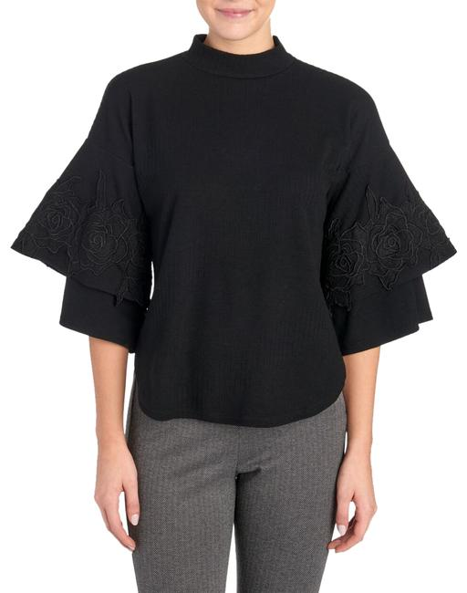 Item - Layered Statement Lace Applique Sleeve Black Sweater