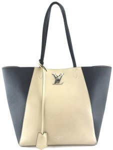Louis Vuitton Leather Lockme Cabas Tote in black and beige