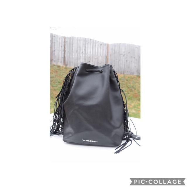 Item - Fringe Black Faux Leather Backpack