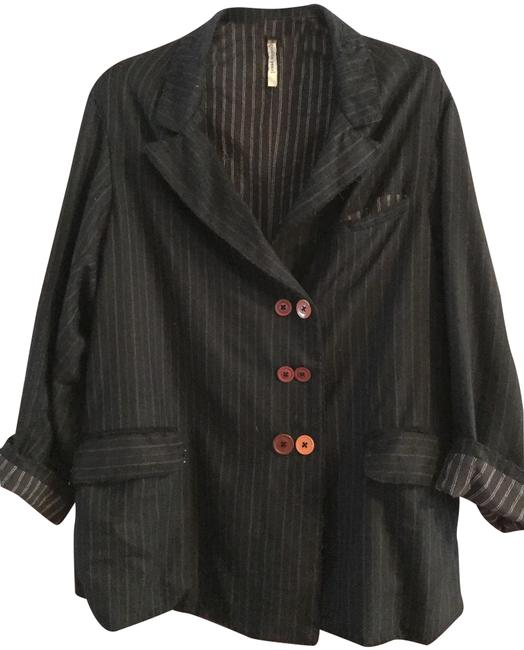 Item - Black with Navy and White Pinstripes Blazer Size OS (one size)