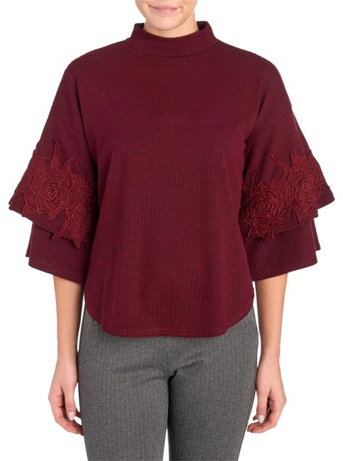 Item - Layered Statement Lace Applique Sleeve Wine Sweater