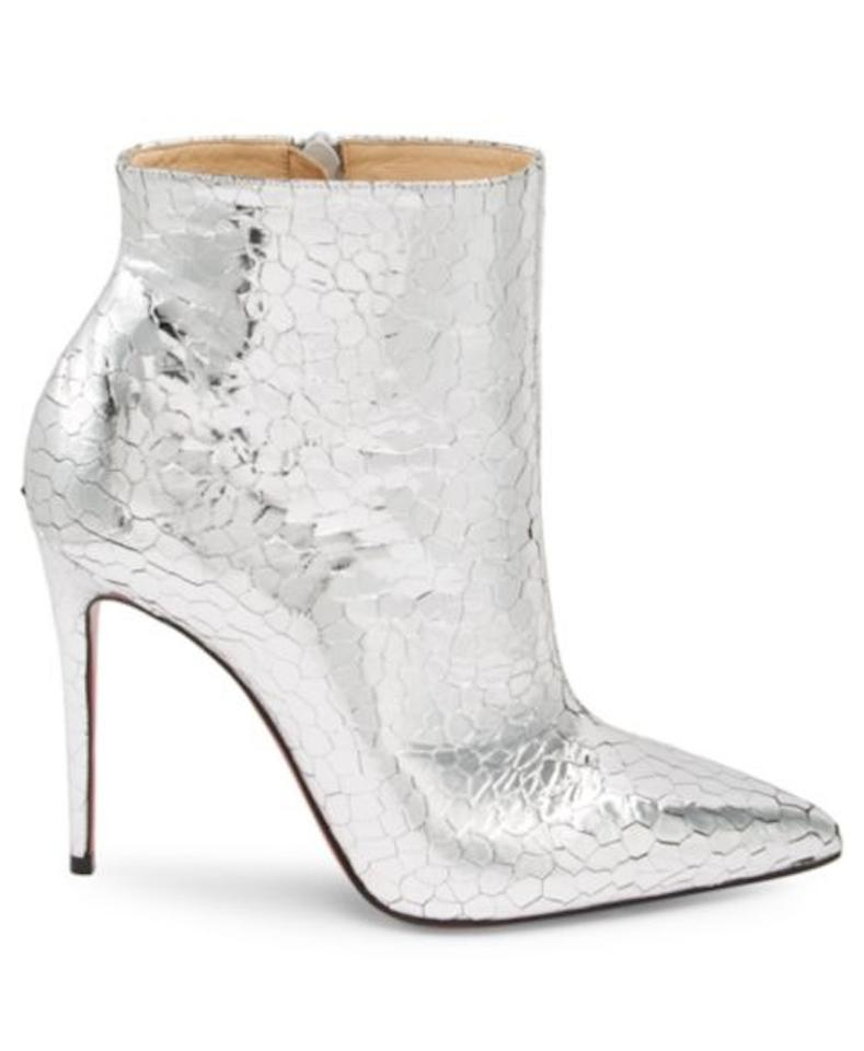 huge discount b5a96 c6e73 Christian Louboutin Silver Kate 100mm Mirrored Leather Boots/Booties Size  EU 39.5 (Approx. US 9.5) Regular (M, B)