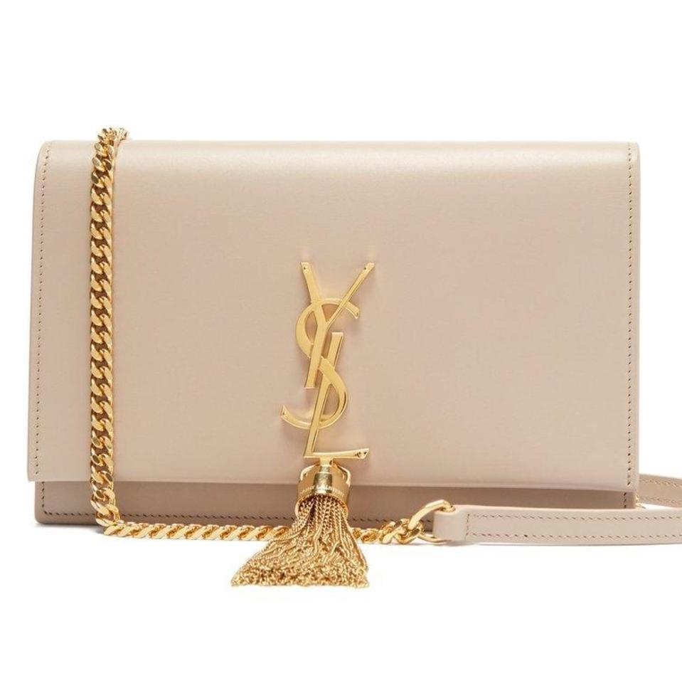 4a9d3e1431ba Saint Laurent Monogram Classic Ysl Small Kate Tassel In Powder Nude ...