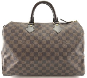 Louis Vuitton Lv Damier Speedy 35 Satchel in Brown