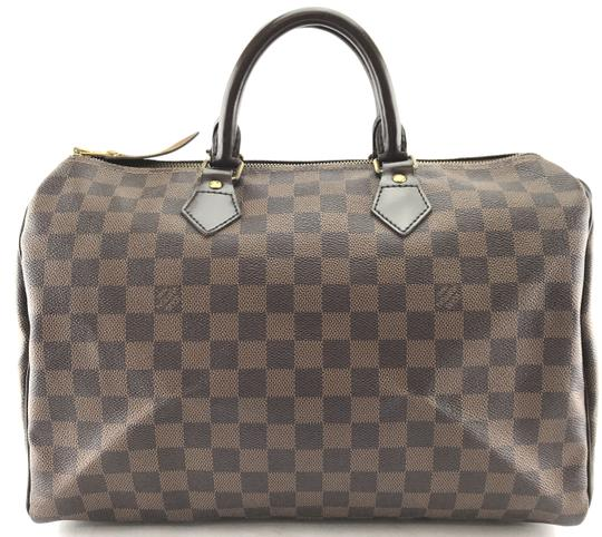 Louis Vuitton Lv Damier Speedy 35 Satchel in Brown Image 1
