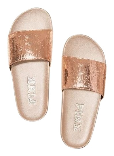 784cfbad76dcc PINK Rose Gold Victoria's Secret Single Strap Slides Sandals Size US 7  Regular (M, B)