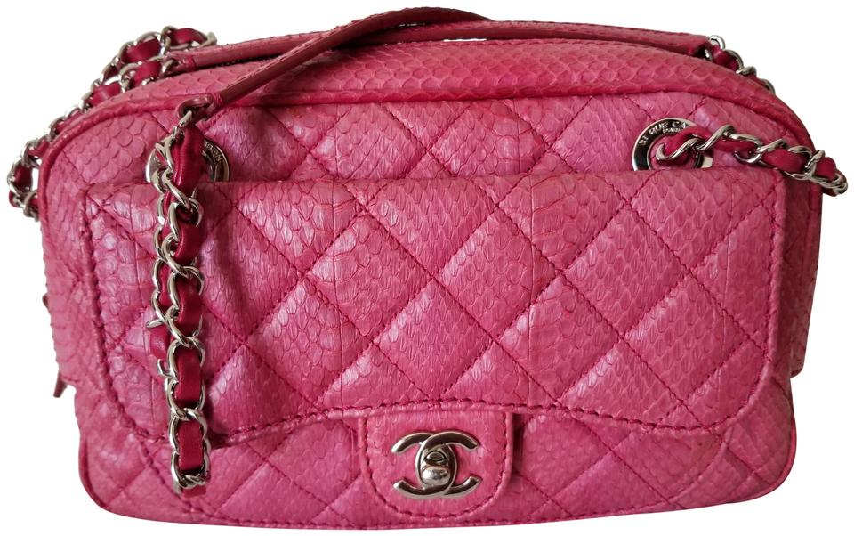 af70ba05f36e Chanel Camera Medium Silver Hardware Pink Python Skin Leather Shoulder Bag