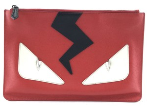 Fendi Leather Monster Face red black white Clutch