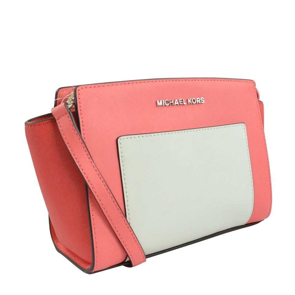 66e88f19028a Michael Kors Carryall Selma Pocket Medium Coral/ Watermelon/ White Coral  Saffiano Leather Messenger Bag - Tradesy