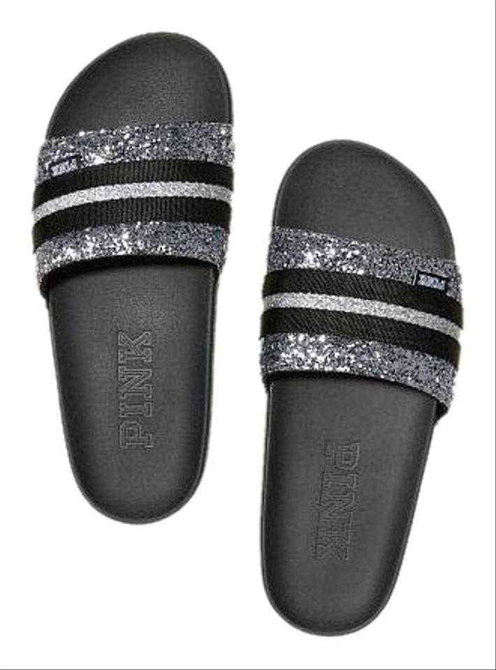 2a9fd79026c3c PINK Gunmetal Glitter Victoria's Secret Single Strap Slides Sandals Size US  7 Regular (M, B)