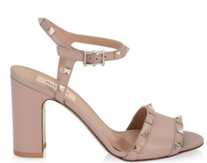 fad3d828797 Valentino Studded Ankle Strap Open Toe Block Heel Made In Italy poudre  Sandals