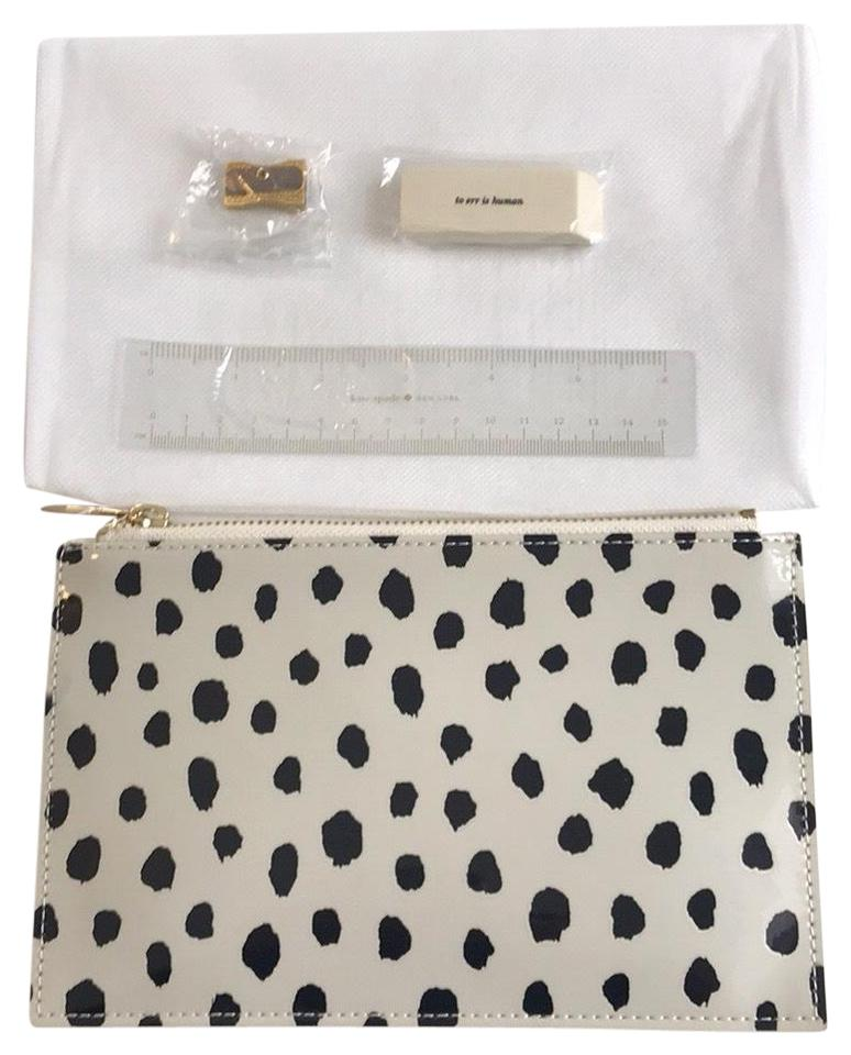 half off 6d63c d19cd Kate Spade Pencil Case White with Black Dots Clutch 19% off retail
