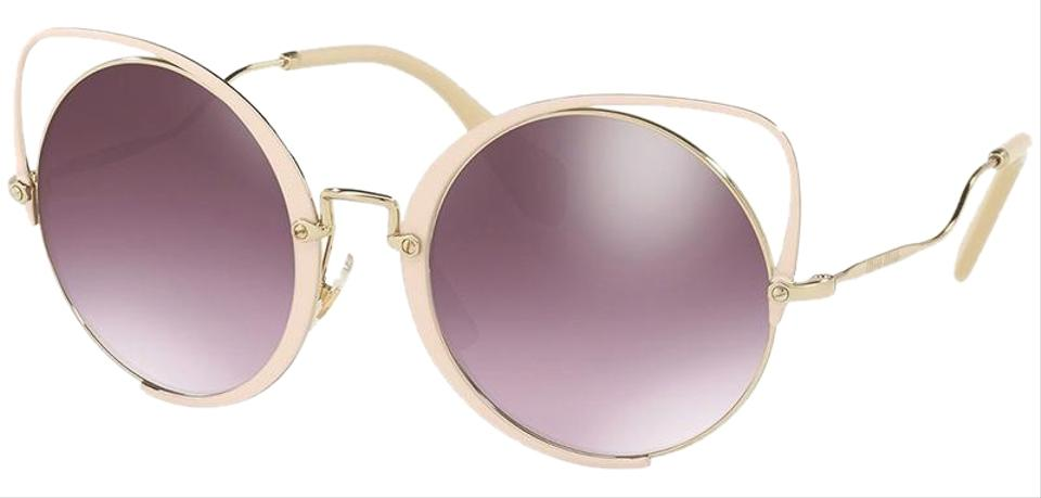 0809258c6f02 Miu Miu Pale Gold Peach Frame   Violet Mirrored Silver Gradient Lens Women  Irregular Sunglasses