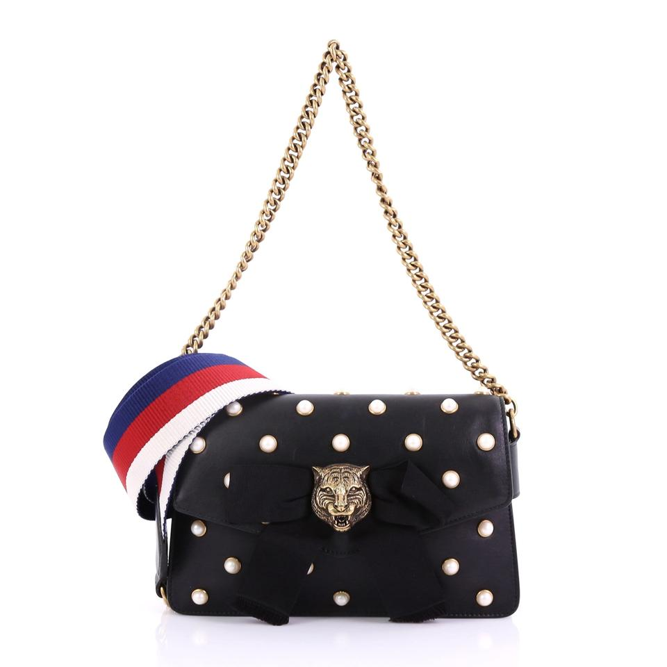 d0e1453a5f6b Gucci Broadway Pearly Embellished Mini Black Leather Shoulder Bag ...