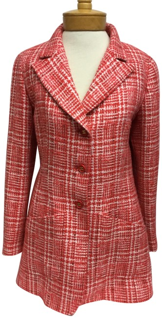 Item - Red And White Tweed with Logo Buttons Jacket Size 8 (M)