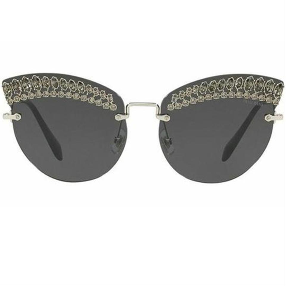 08ef1b2fd70 Miu Miu Silver Frame   Grey Lens Women Cat Eye Sunglasses - Tradesy
