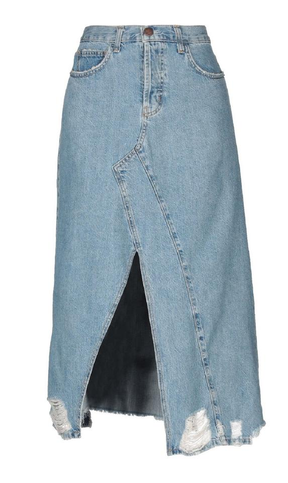 4265d5bcd9 Current/Elliott Blue Recrafted Distressed Denim Skirt Size 8 (M, 29 ...