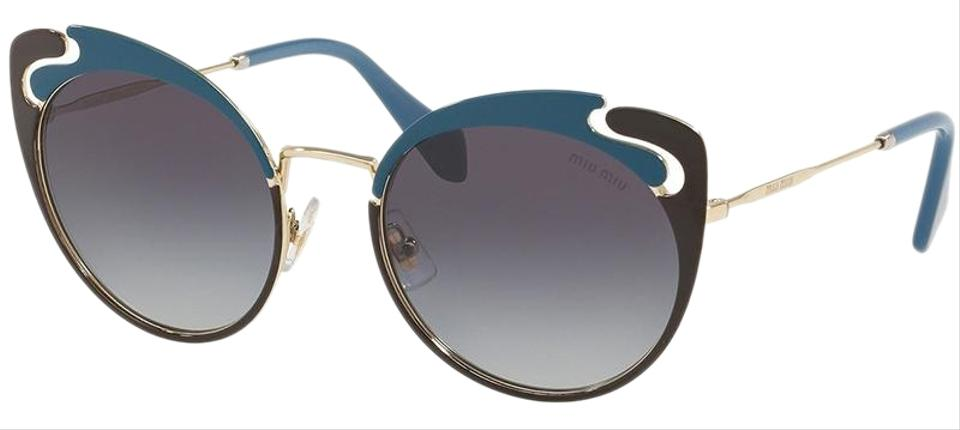 3eac3603033 Miu Miu Pale Gold Blue Brown Frame   Grey Gradient Lens Women Cat Eye  Sunglasses