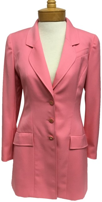 Item - Pink Long with Logo Buttons Jacket Size 6 (S)