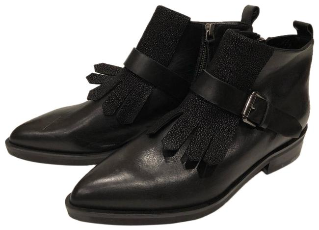 Item - Black New Pointy Toe Fringe Buckle Leather Boots/Booties Size EU 37 (Approx. US 7) Regular (M, B)