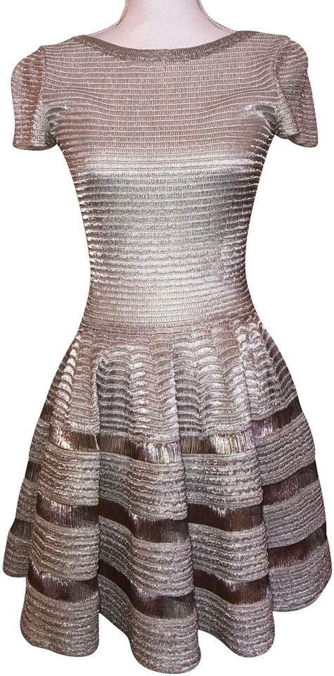 5b0eb1d1e9b ALAÏA Metallic Silver Rose Gold Fit   Flare Mini Short Cocktail ...