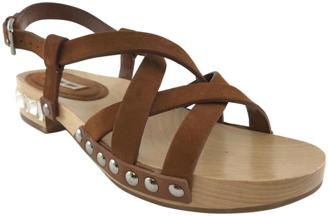 Item - Brown Leather Jeweled Heel Strappy Studded Sandals Size EU 36.5 (Approx. US 6.5) Regular (M, B)