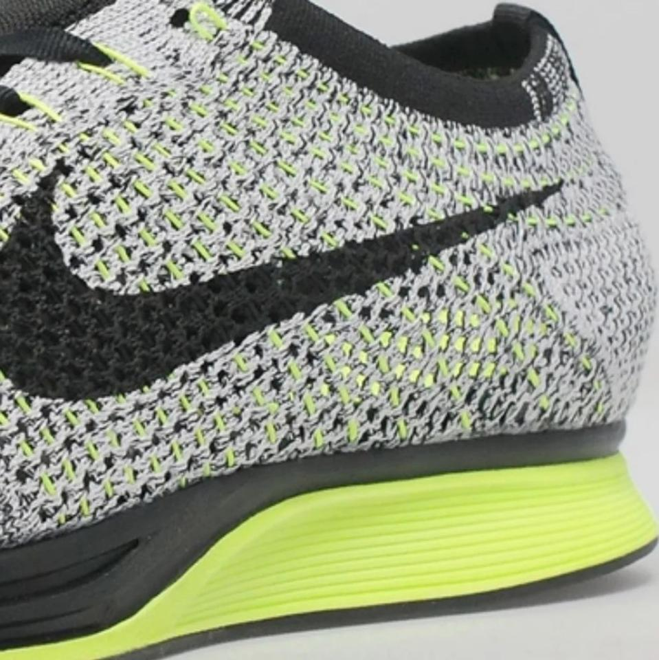 online store dfd2c 76547 Nike Black Grey Green Oreo Volt Flyknit Racers Sneakers Size US 7.5 ...