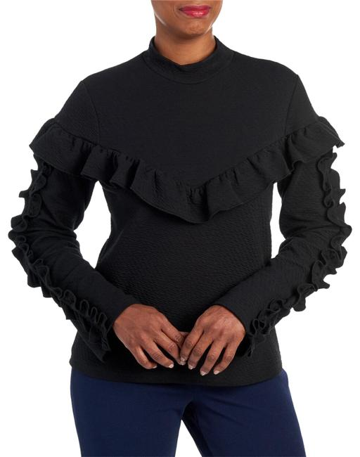 Lumie W Mock Neck W/Ruffles On Chest Sleeves Black Sweater Lumie W Mock Neck W/Ruffles On Chest Sleeves Black Sweater Image 1