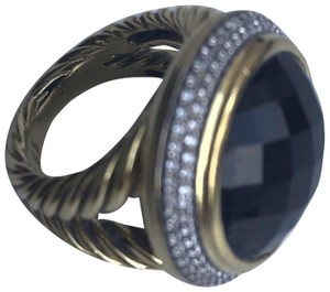 David Yurman Albion Ring with Black Onyx and Diamonds in 18k Gold 14mm