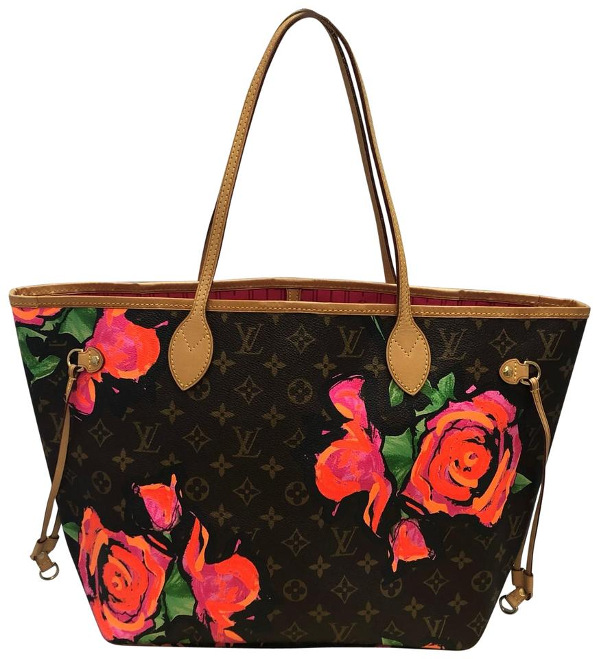 Louis Vuitton Neverfull Mm Roses Monogram. Limited Edition. Brown ... 807df528d1b1f