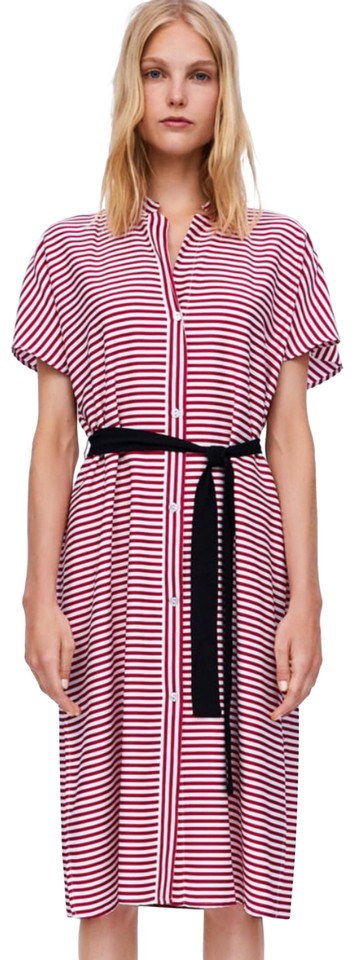 4d30363c8c1 Zara Red   White Belted Striped Tunic Mid-length Casual Maxi Dress ...