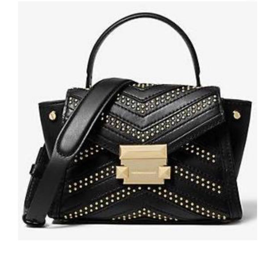 MICHAEL Michael Kors Whitney Studded Top Handle Black Leather Satchel -  Tradesy f55e2feb4d5df