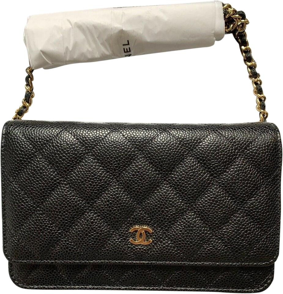 828e256a08db Chanel Wallet on Chain Gold Cc Black Caviar Leather Cross Body Bag ...