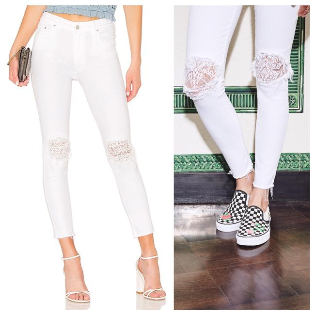 Item - White The Looker High Waisted Lace Frayed Ankle In Little Miss Lacey Skinny Jeans Size 0 (XS, 25)