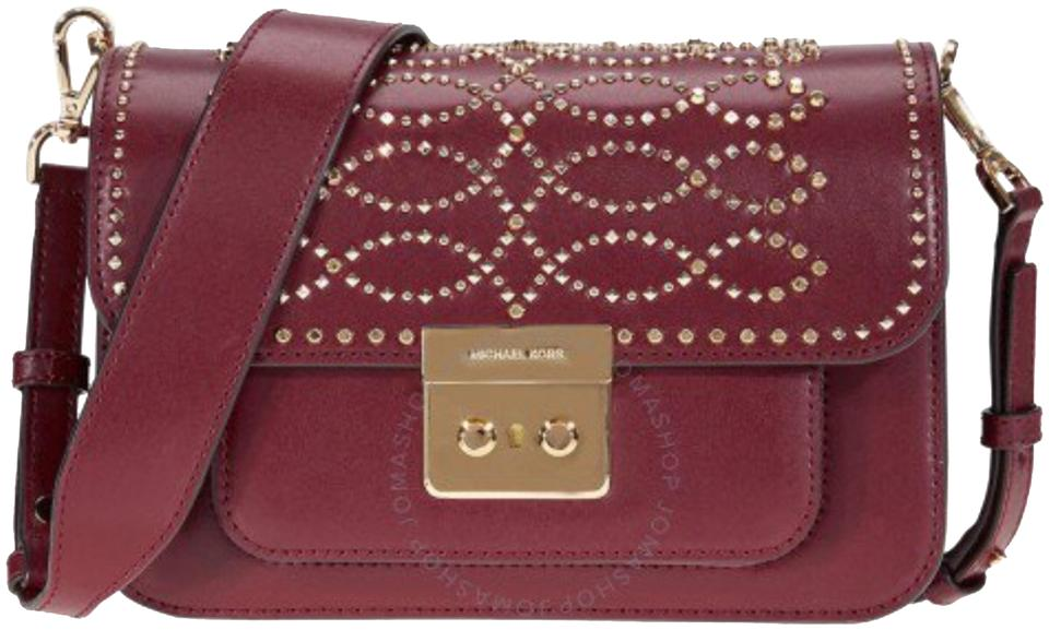 34562a5c08b85 MICHAEL Michael Kors Sloan Editor Studded Maroon Leather Shoulder ...