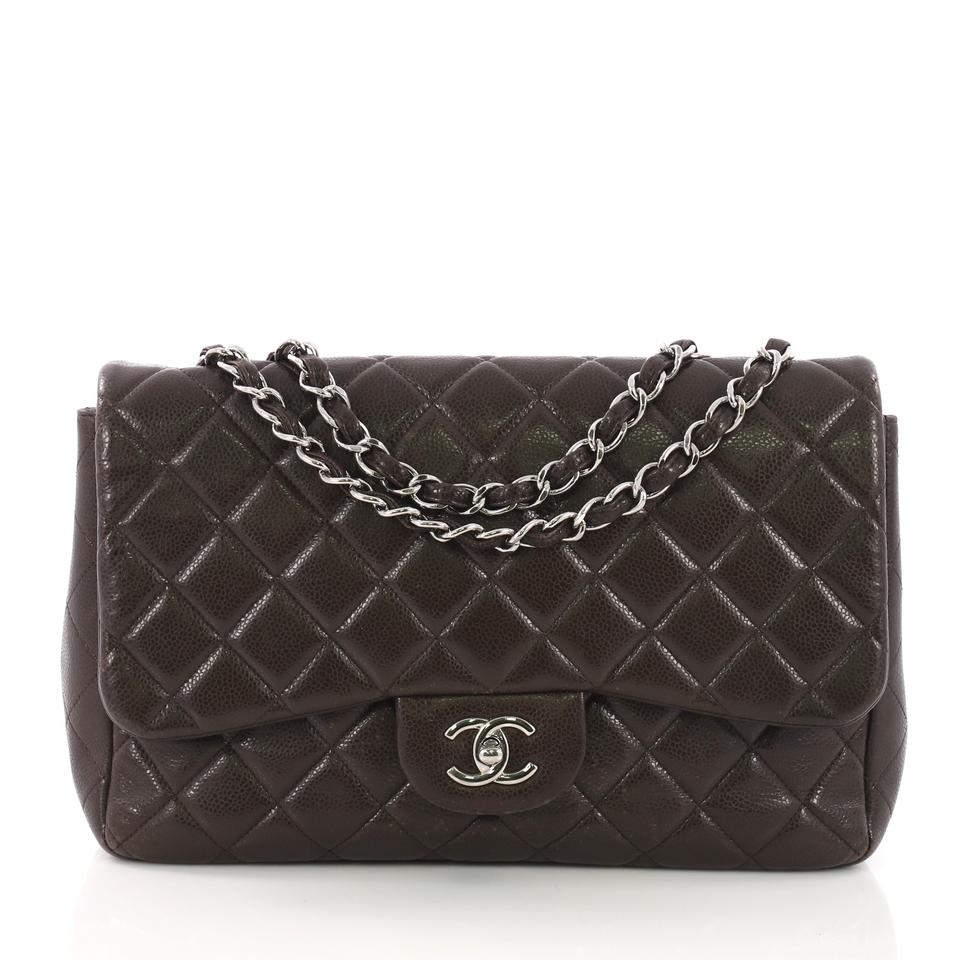 06c0e4f3e13 Chanel Classic Flap Classic Single Quilted Caviar Jumbo Brown Leather Cross  Body Bag