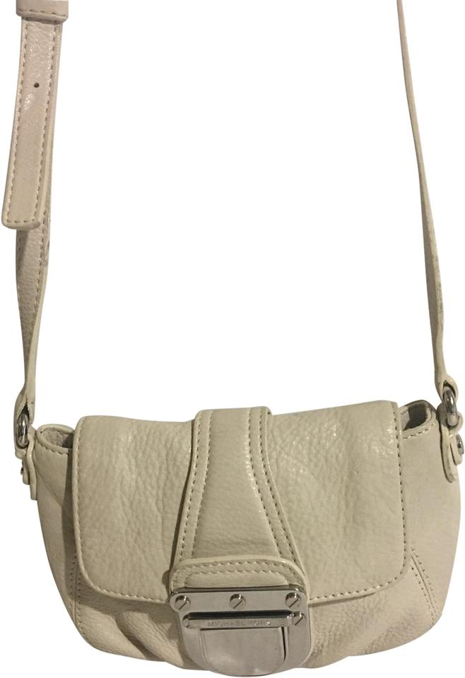 908473ba53ba MICHAEL Michael Kors Small Handbag White Leather Messenger Bag - Tradesy