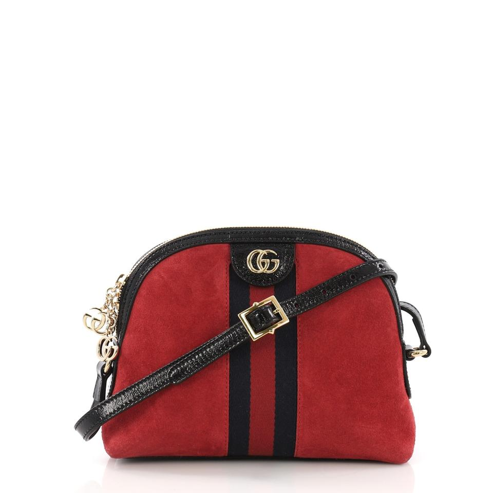 2cbb55e06c3 Gucci Dome Ophidia Shoulder Small Red Suede Leather Cross Body Bag ...