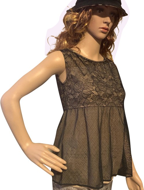 Item - Black Beige Top Lace Short Night Out Dress Size 6 (S)