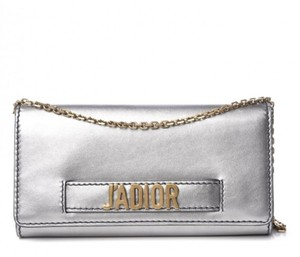 Dior Jadior Grey Metallic Gold Hardware Leather Shoulder Bag