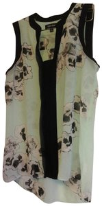Ellen Tracy Date Night Night Out Top Mint green, black & white print