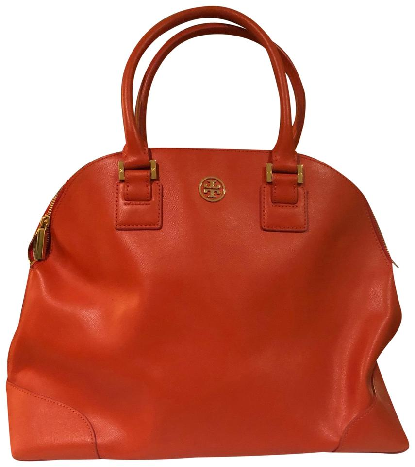 7682299aa47 Tory Burch Robinson Orange Saffiano Leather Satchel - Tradesy