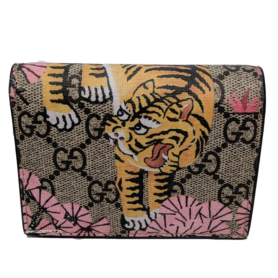best website 4f858 64953 Gucci Brown Pink Bengal Small Card Case Wallet 10% off retail