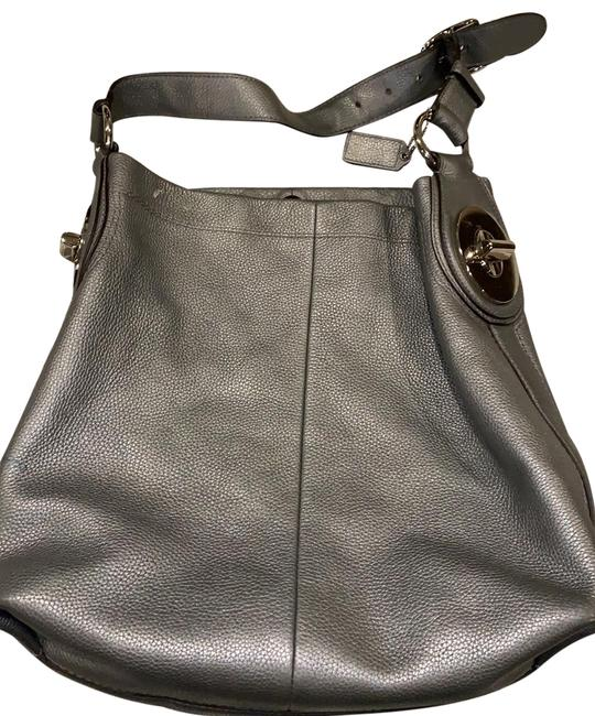 Item - H1176-f16535 Silver/Gray Leather Hobo Bag