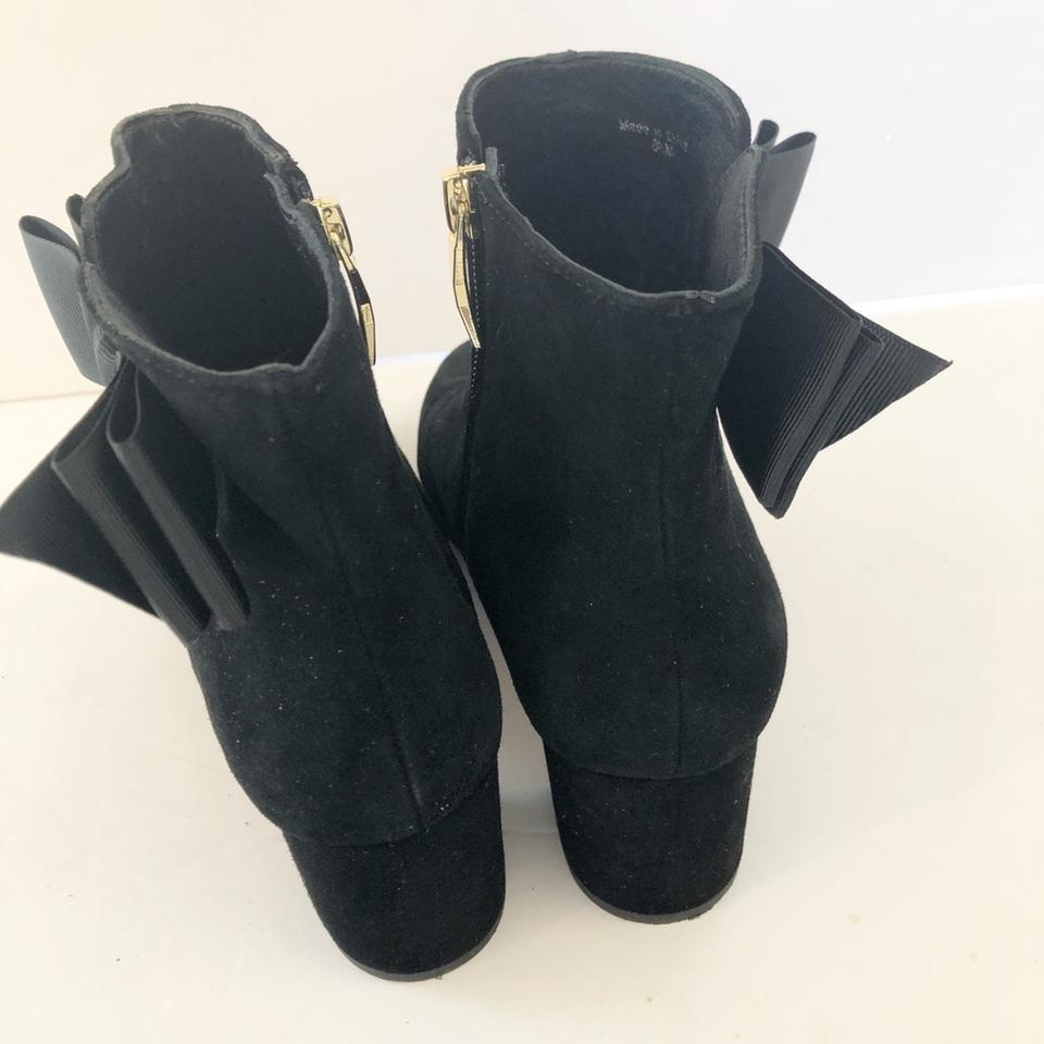 cc79298bfee1 Kate Spade Black Langley Suede Bow Ankle Boots Booties Size US 8.5 ...