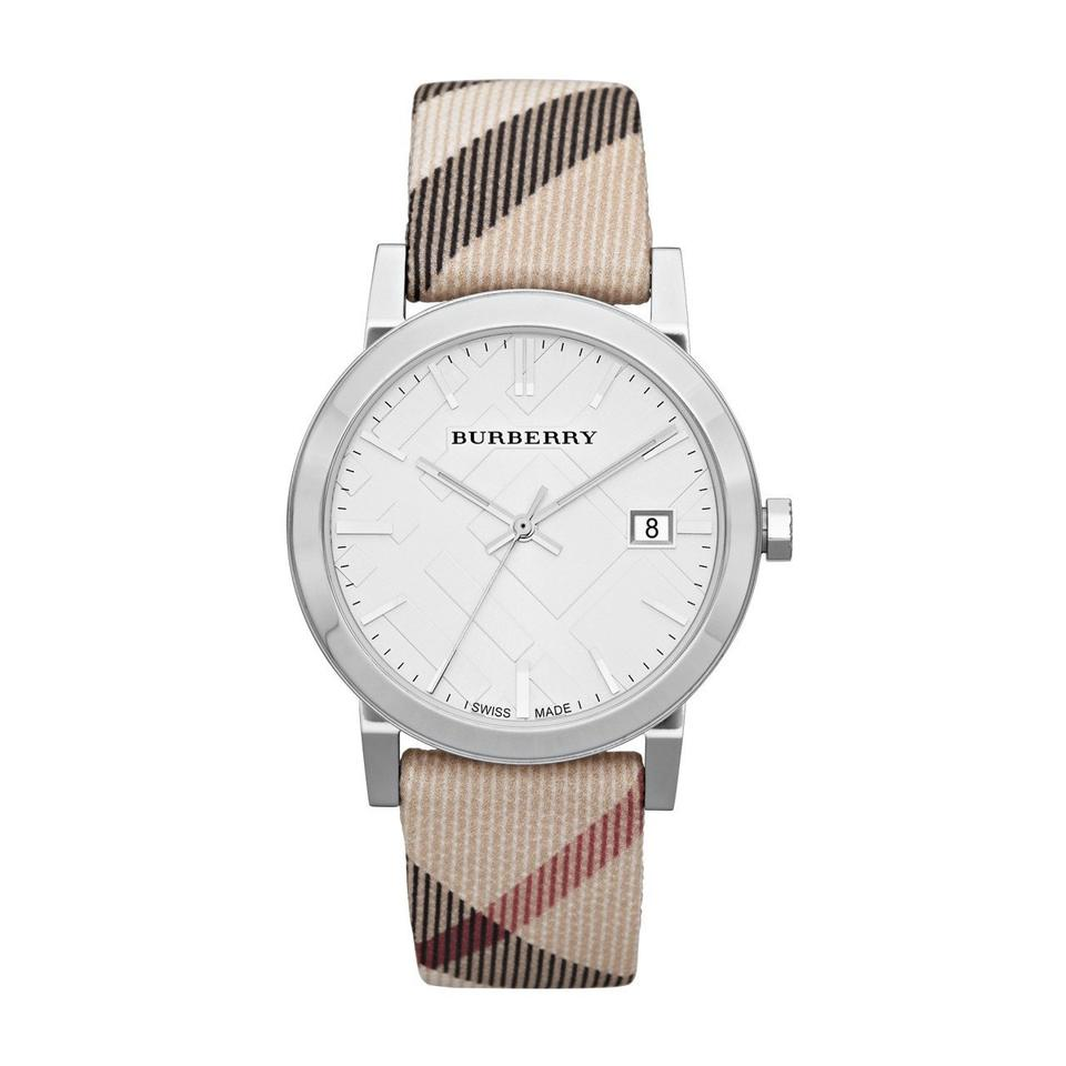 8fa7ad0bcd09 Burberry Beige Bu9022 Nova Check Nylon and Leather 38mm Unisex Quartz Watch