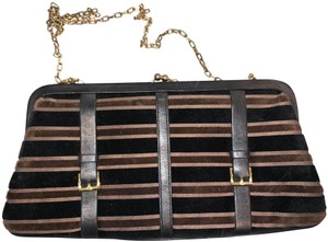Saks Fifth Avenue Velour Velvet Buckle Kiss Lock Leather Black & Brown Clutch